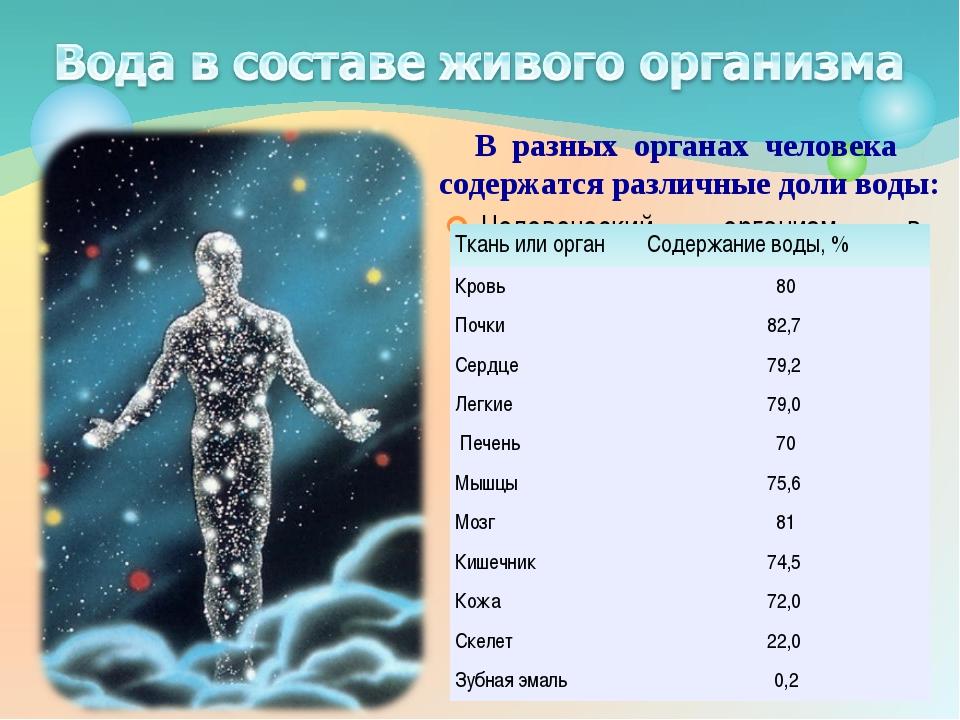 Человеческий организм в основном состоит из воды. Ее относительное содержание...