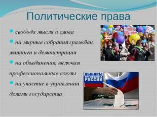 Политические права свобода мысли и слова на мирные собрания граждан, митинги