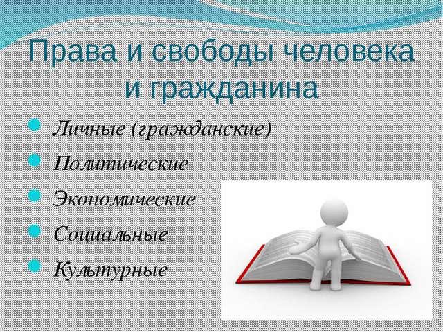Права и свободы человека и гражданина Личные (гражданские) Политические Эконо...