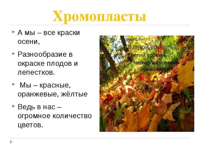 Хромопласты А мы – все краски осени, Разнообразие в окраске плодов и лепестко...