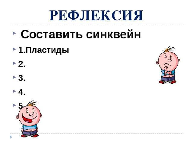 РЕФЛЕКСИЯ Составить синквейн 1.Пластиды 2. 3. 4. 5.
