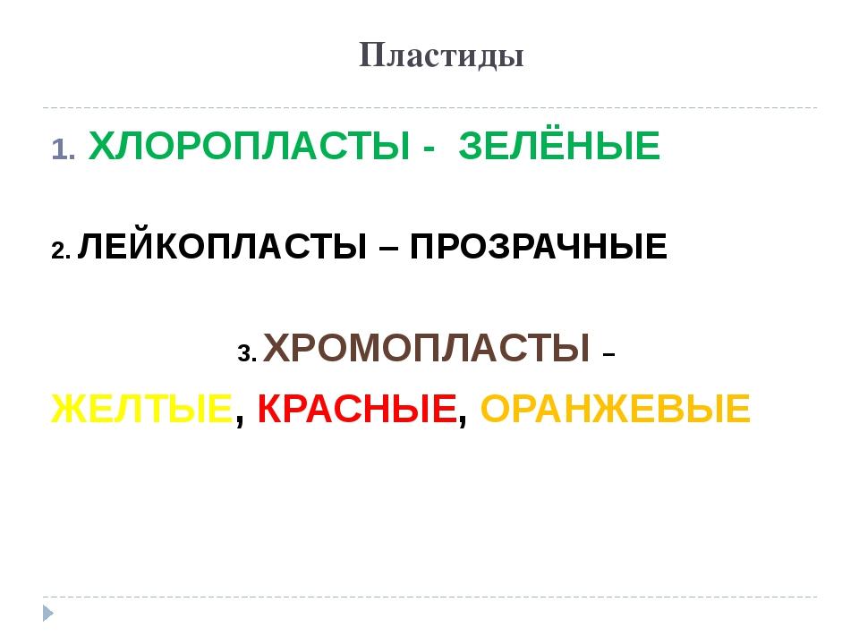 Пластиды ХЛОРОПЛАСТЫ - ЗЕЛЁНЫЕ 2. ЛЕЙКОПЛАСТЫ – ПРОЗРАЧНЫЕ 3. ХРОМОПЛАСТЫ – Ж...