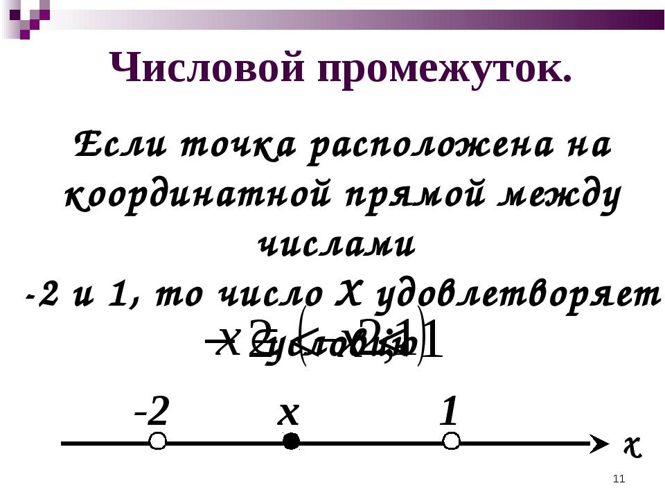 Числовой промежуток. Если точка расположена на координатной прямой между числ...
