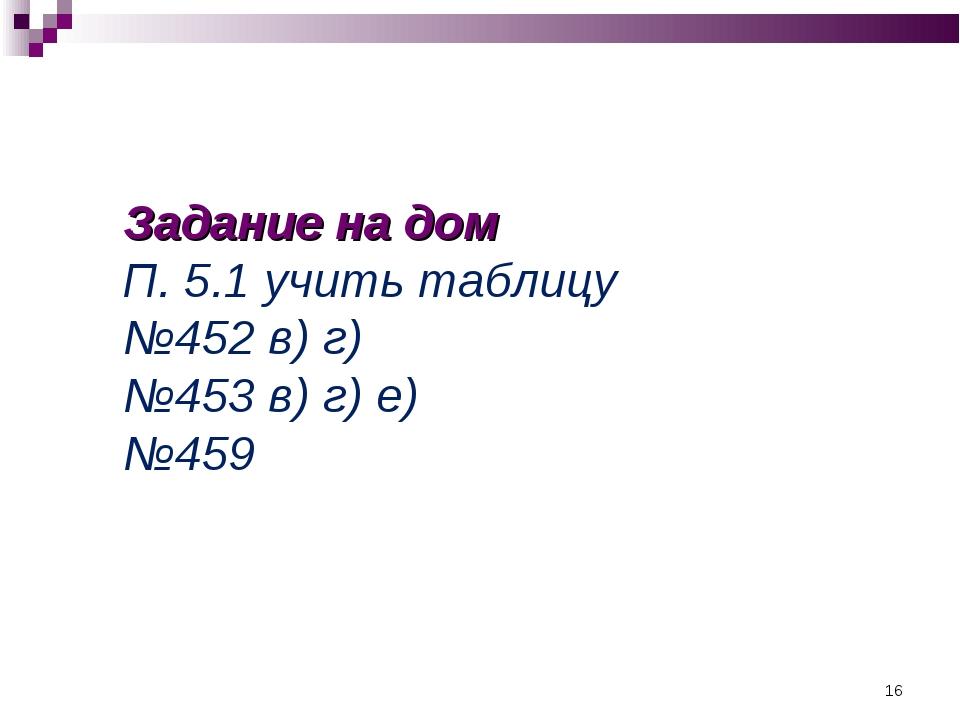 Задание на дом П. 5.1 учить таблицу №452 в) г) №453 в) г) е) №459 *