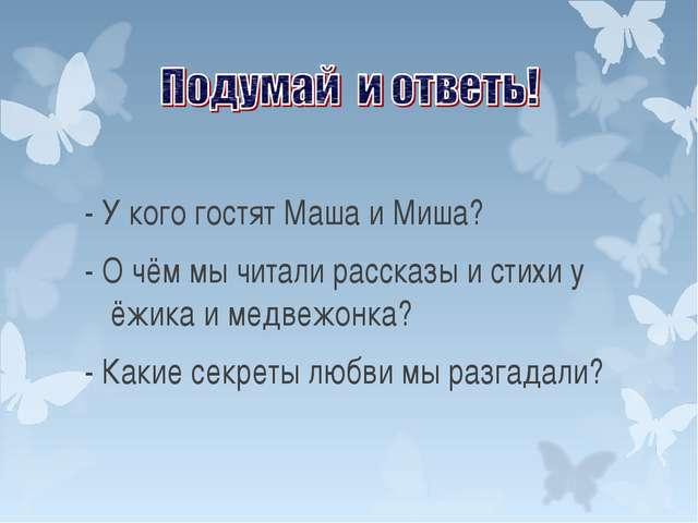 - У кого гостят Маша и Миша? - О чём мы читали рассказы и стихи у ёжика и мед...