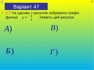 Варіант 47 1.7 На одному з рисунків зображено графік функції y = - . Укажіть