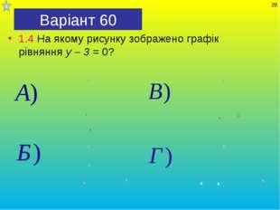 Варіант 60 1.4 На якому рисунку зображено графік рівняння у – 3 = 0? *