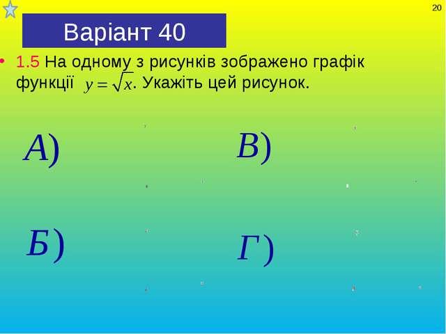 Варіант 40 1.5 На одному з рисунків зображено графік функції . Укажіть цей ри...