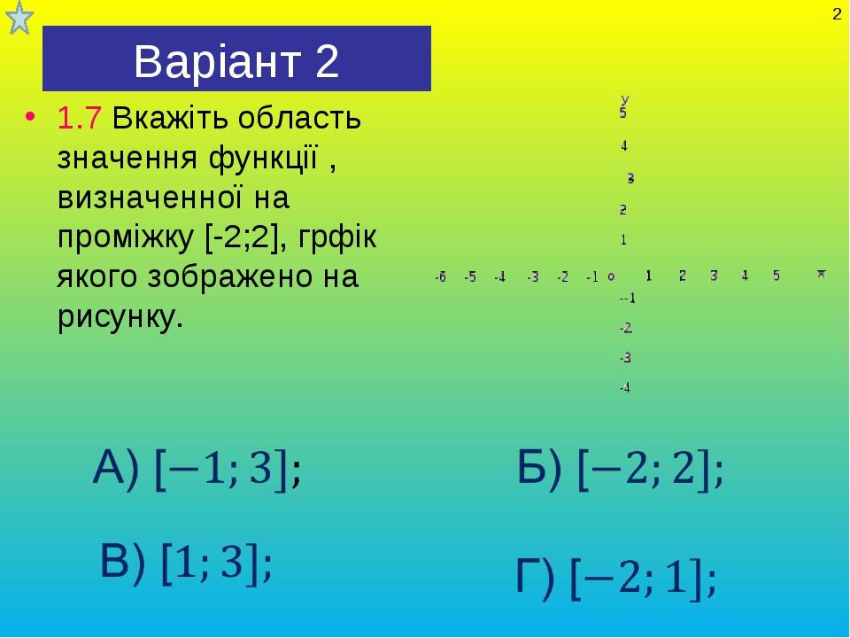Варіант 2 1.7 Вкажіть область значення функції , визначенної на проміжку [-2;...