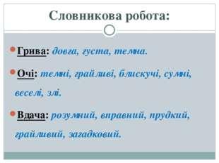 Словникова робота: Грива: довга, густа, темна. Очі: темні, грайливі, блискучі