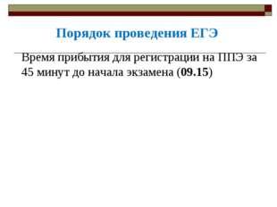 Время прибытия для регистрации на ППЭ за 45 минут до начала экзамена (09.15)