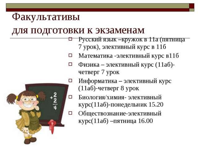 Факультативы для подготовки к экзаменам Русский язык –кружок в 11а (пятница 7...