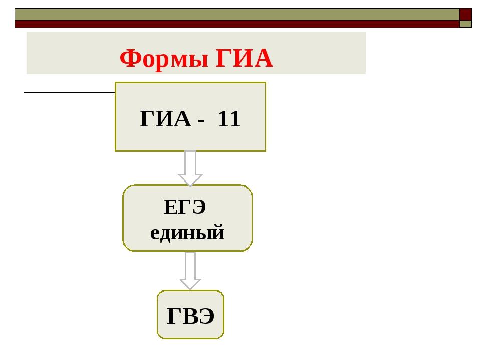 Формы ГИА ГИА - 11 ЕГЭ единый ГВЭ