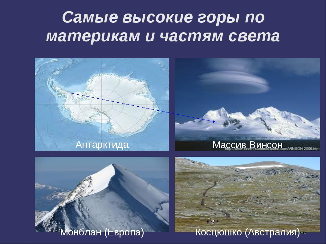 Самые высокие горы по материкам и частям света Массив Винсон Антарктида Монбл...