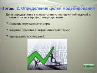 * I этап: 2. Определение целей моделирования Цели определяются в соответствии