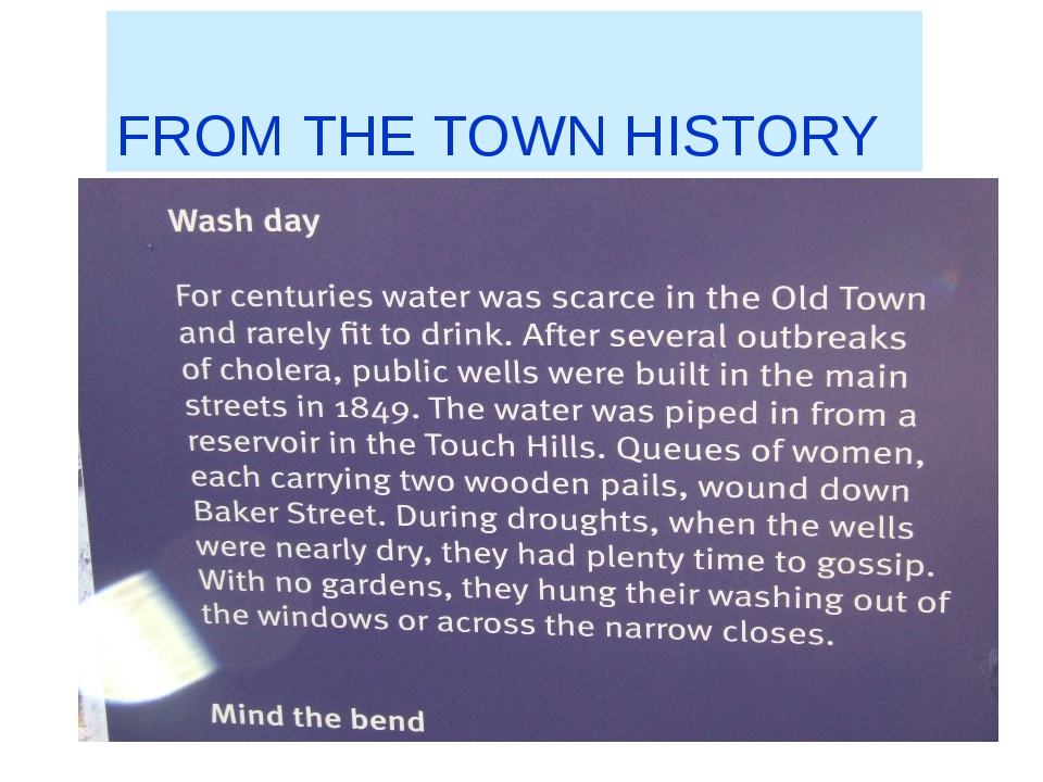 FROM THE TOWN HISTORY