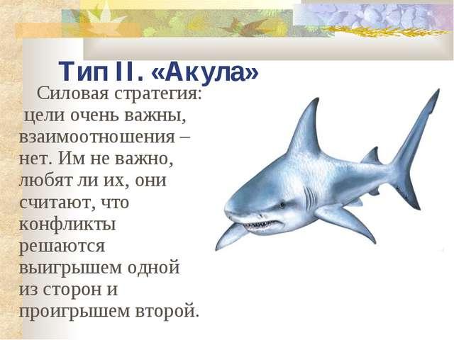 Тип II. «Акула» Силовая стратегия: цели очень важны, взаимоотношения – нет. И...