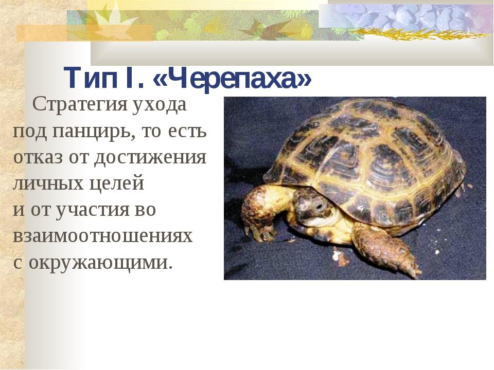 Тип I. «Черепаха» Стратегия ухода под панцирь, то есть отказ от достижения ли...