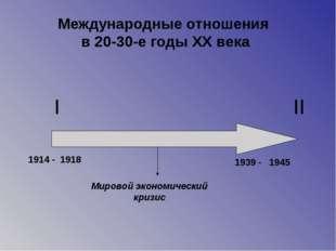 I II 1914 - 1939 - 1918 1945 Мировой экономический кризис Международные отнош