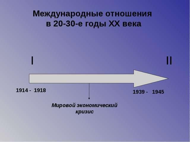 I II 1914 - 1939 - 1918 1945 Мировой экономический кризис Международные отнош...