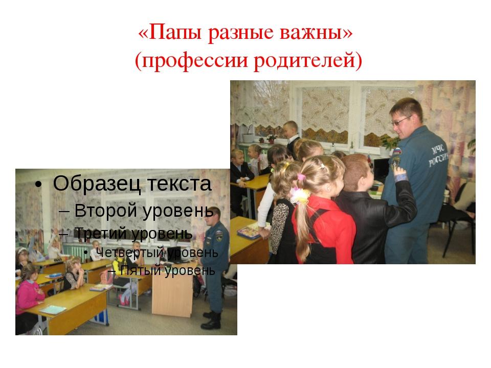 «Папы разные важны» (профессии родителей)