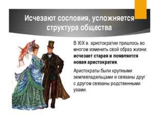 В XIX в. аристократии пришлось во многом изменить свой образ жизни: исчезает