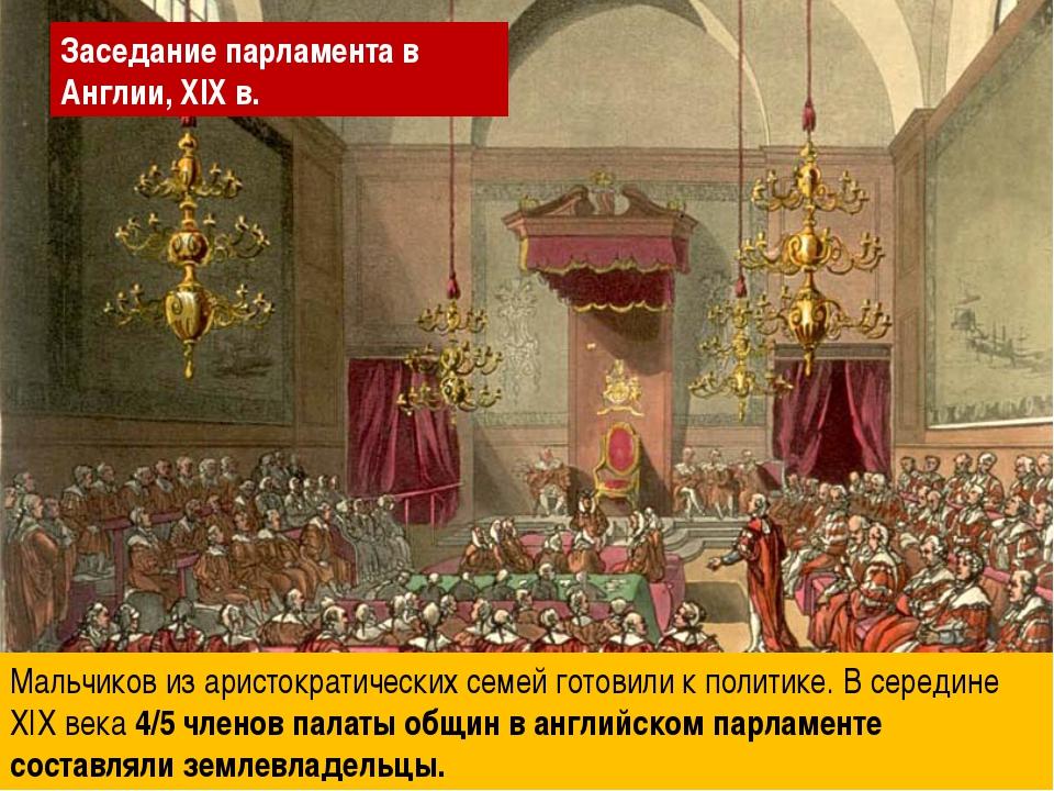 Мальчиков из аристократических семей готовили к политике. В середине XIX века...