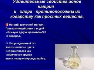 Удивительные свойства ионов натрия и хлора противоположны их коварству как пр