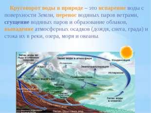 Круговорот воды в природе – это испарение воды с поверхности Земли, перенос