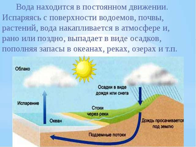 Вода находится в постоянном движении. Испаряясь с поверхности водоемов, по...