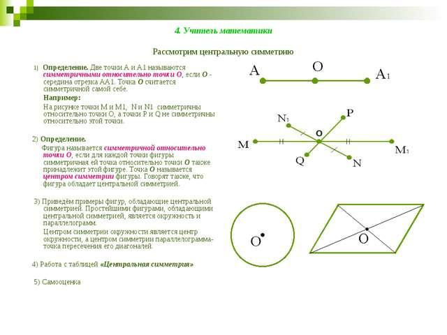 4. Учитель математики Рассмотрим центральную симметрию 1) Определение. Две то...