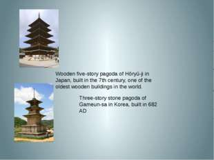 Three-story stone pagoda of Gameun-sa in Korea, built in 682 AD Wooden five-s