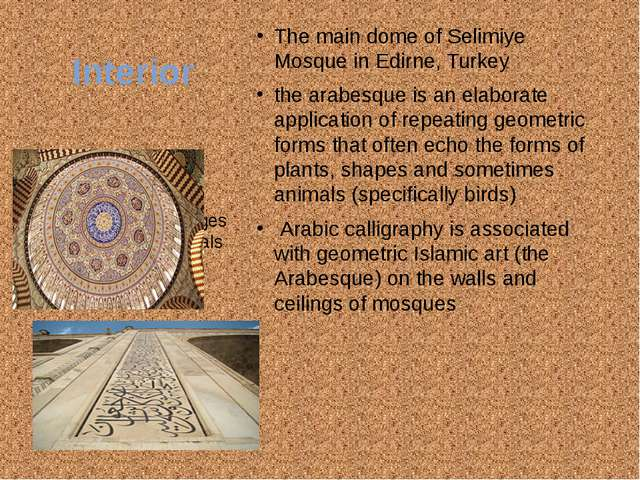 Interior The main dome of Selimiye Mosque in Edirne, Turkey the arabesque is...