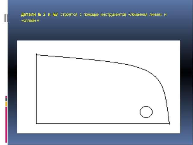Детали № 2 и №3 строятся с помощью инструментов «Ломанная линия» и «Сплайн»