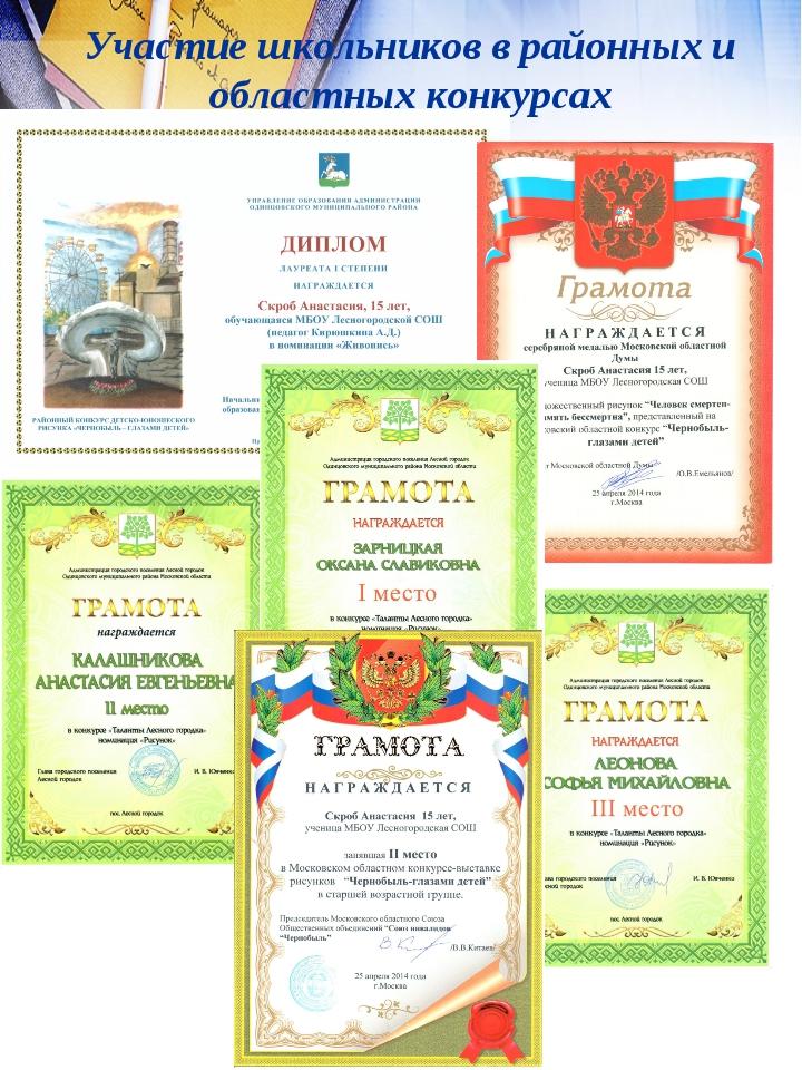 Участие школьников в районных и областных конкурсах
