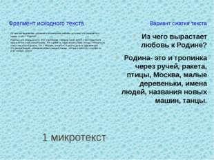 1 микротекст Фрагмент исходного текста Вариант сжатия текста Из чего жевыра