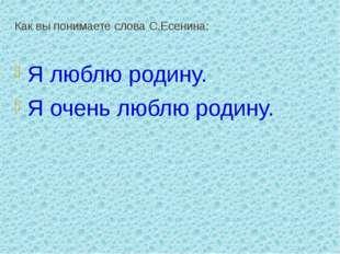 Как вы понимаете слова С.Есенина: Я люблю родину. Я очень люблю родину.