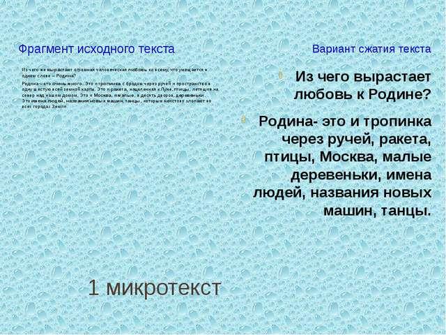 1 микротекст Фрагмент исходного текста Вариант сжатия текста Из чего жевыра...