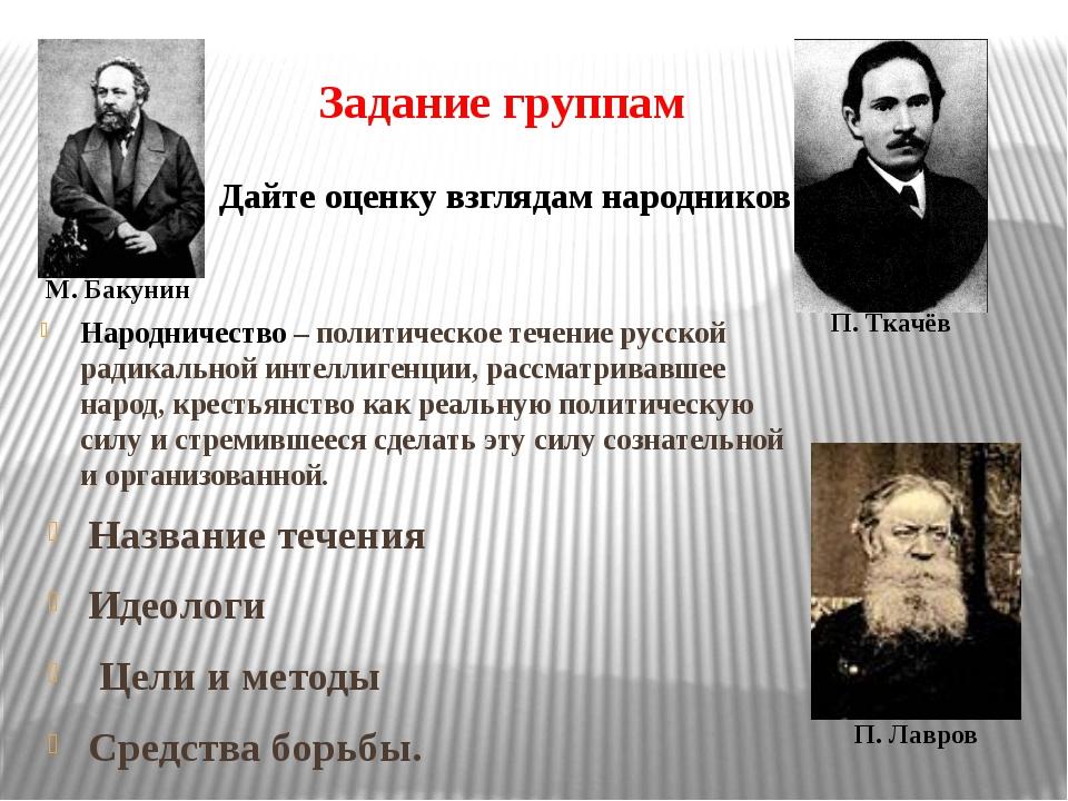 Задание группам Название течения Идеологи Цели и методы Средства борьбы. М. Б...