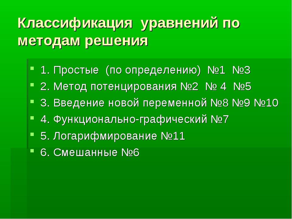 Классификация уравнений по методам решения 1. Простые (по определению) №1 №3...