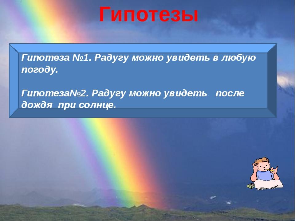 Гипотезы Гипотеза №1. Радугу можно увидеть в любую погоду. Гипотеза№2. Радугу...