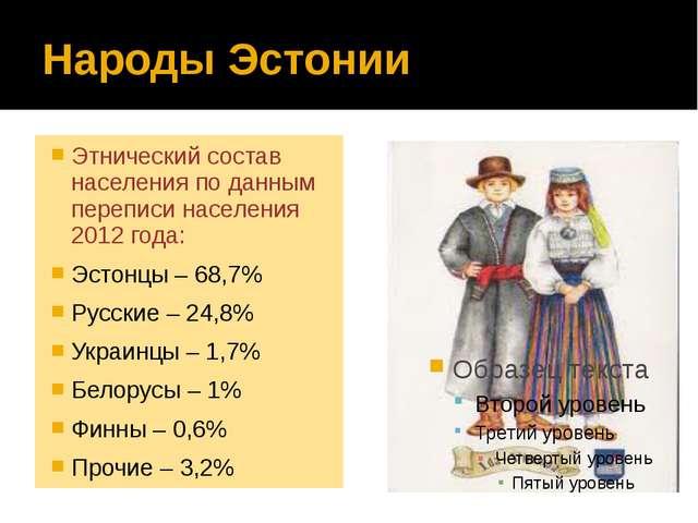 Народы Эстонии Этнический состав населения по данным переписи населения 2012...
