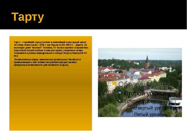 Тарту Тарту - старейший город Балтии и важнейший культурный центр Эстонии. Из...