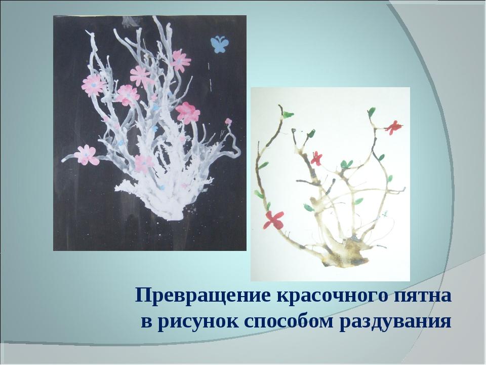 Превращение красочного пятна в рисунок способом раздувания