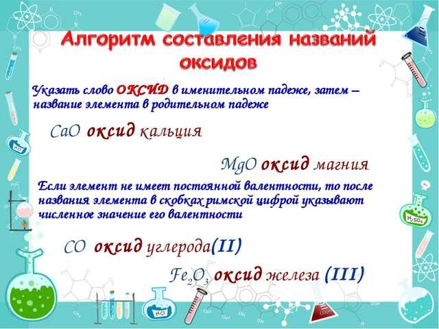МgО оксид магния Fe2О3 оксид железа (III) СО оксид углерода(II) Указать слово...