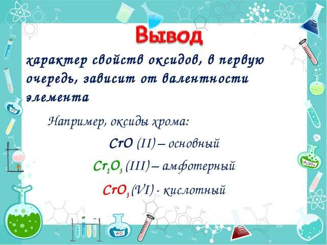 характер свойств оксидов, в первую очередь, зависит от валентности элемента Н...