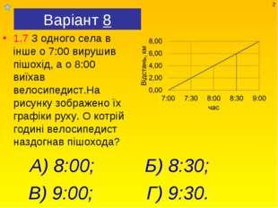 Варіант 8 1.7 З одного села в інше о 7:00 вирушив пішохід, а о 8:00 виїхав ве