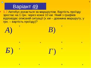 Варіант 49 1.7 Автобус рухається за маршрутом. Вартість проїзду зростає на 1