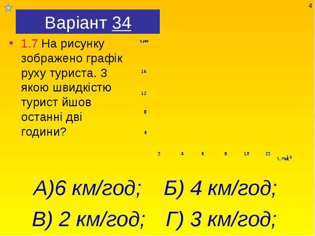 Варіант 34 1.7 На рисунку зображено графік руху туриста. З якою швидкістю тур...