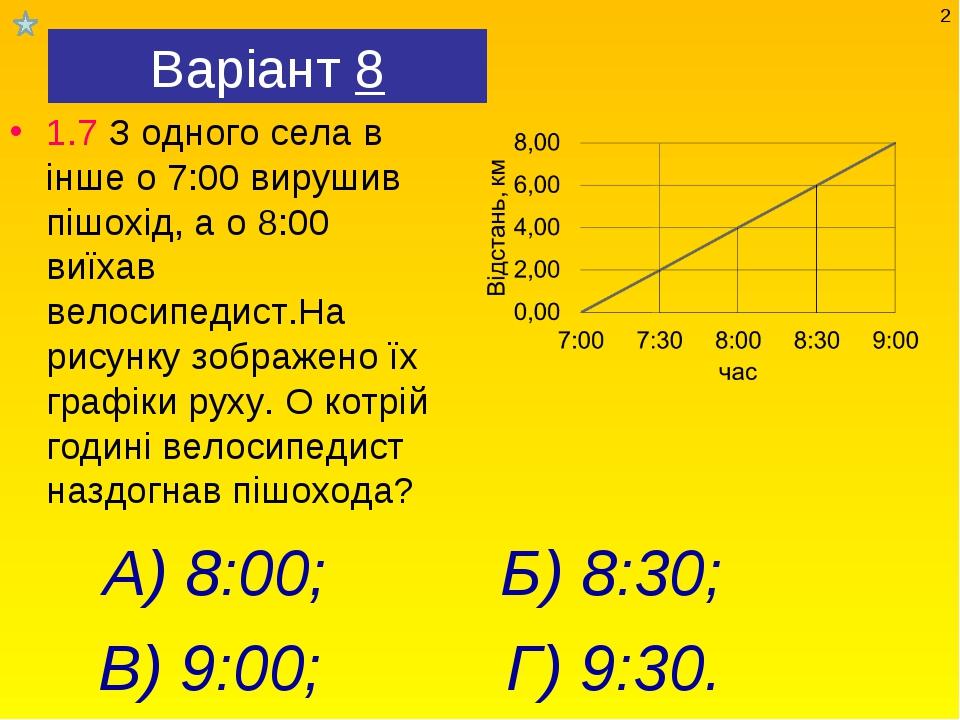 Варіант 8 1.7 З одного села в інше о 7:00 вирушив пішохід, а о 8:00 виїхав ве...